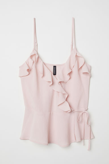 Flounced wrapover strappy top - Light pink -  | H&M CN
