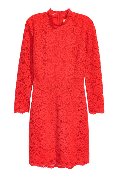 Short lace dress - Bright red -  | H&M CN