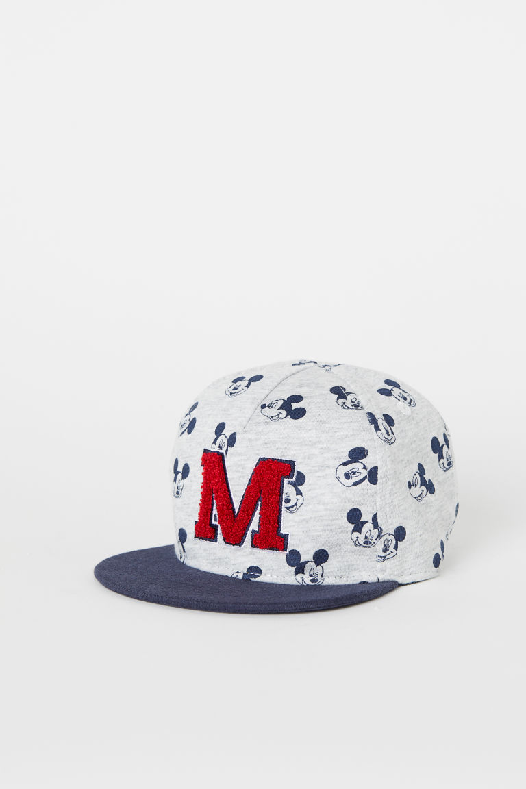Jersey cap - Light grey marl/Mickey Mouse - Kids | H&M GB