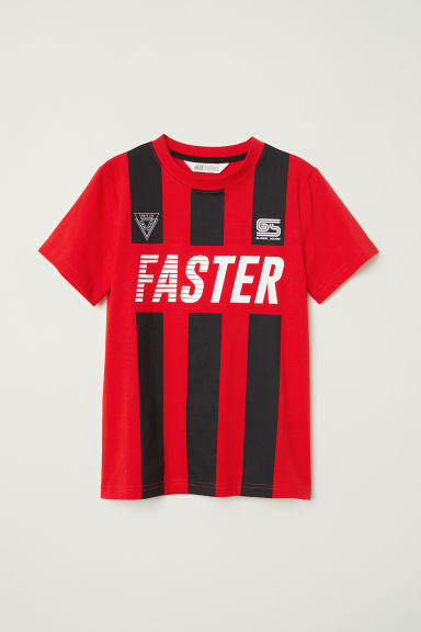 Printed T-shirt - Red/Faster - Kids | H&M CN
