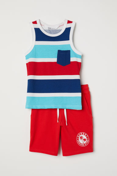 Vest top and shorts - Red/Striped - Kids | H&M CN