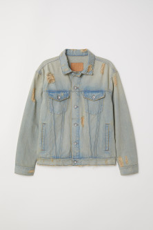 Worn-look denim jacketModel