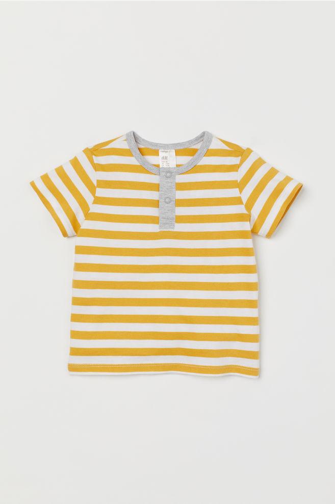 9027b81744 Short-sleeved Henley shirt - Yellow Striped - Kids