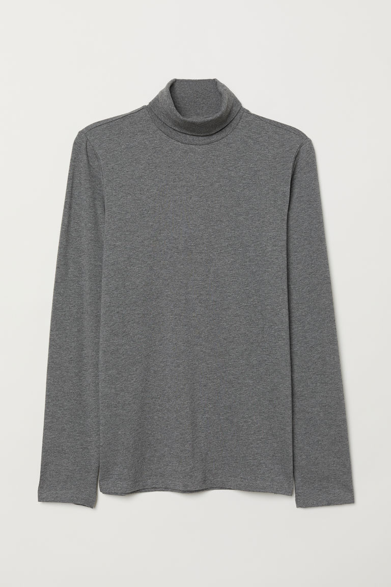 Polo-neck top Muscle Fit - Dark grey marl - Men | H&M