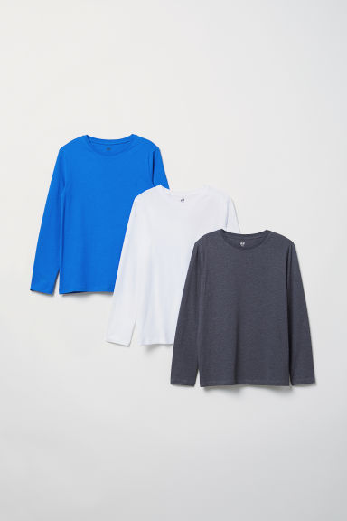 3-pack jersey tops - Cornflower blue/White/Grey - Kids | H&M CN