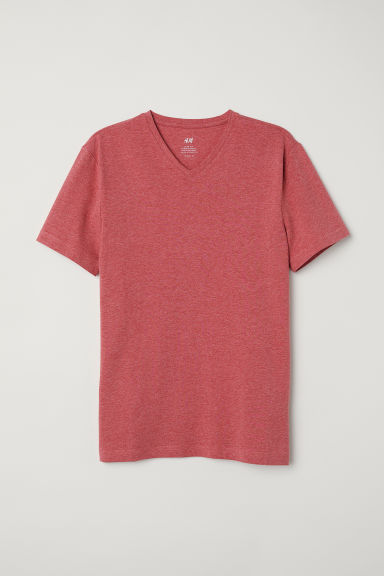 T-shirt met V-hals - Slim fit - Rood gemêleerd - HEREN | H&M BE