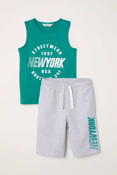 Tanktop en short - Groen/New York - KINDEREN | H&M BE