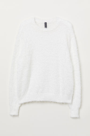 Fluffy jumper - White -  | H&M CN