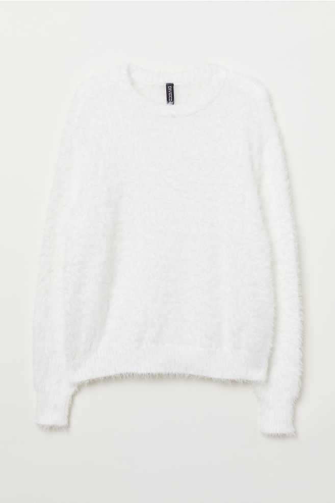 7fd0e3a11c Puszysty sweter - Biały -