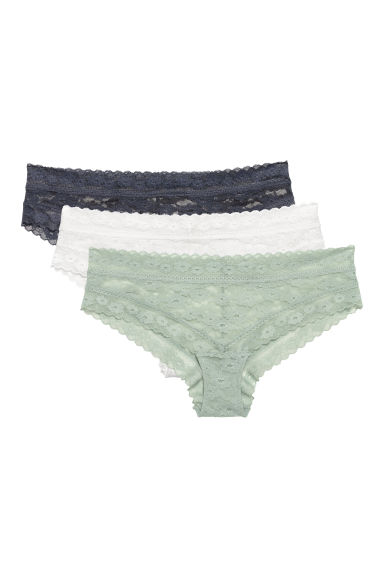 3-pack lace hipster briefs - Dusky green - Ladies | H&M IE