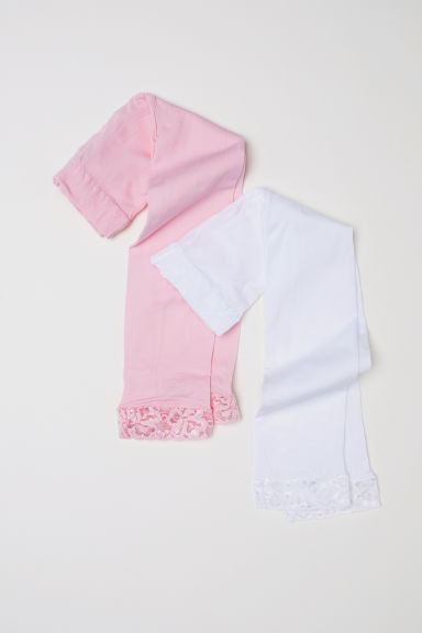 2-pack leggings - Light pink/White - Kids | H&M