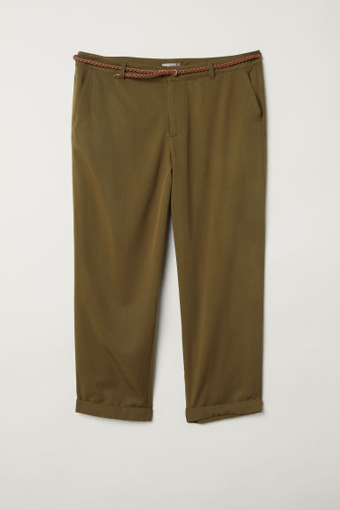 H&M+ Lyocell-blend chinos - Olive green - Ladies | H&M