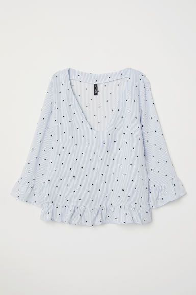 V-neck blouse - Light blue/White striped -  | H&M
