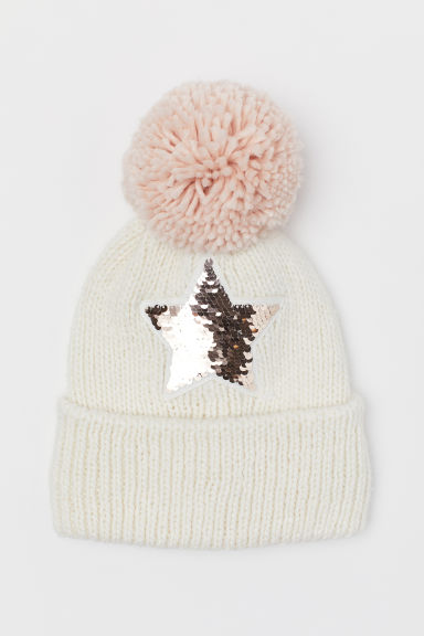 Hat with reversible sequins - Natural white/Star - Kids | H&M CN