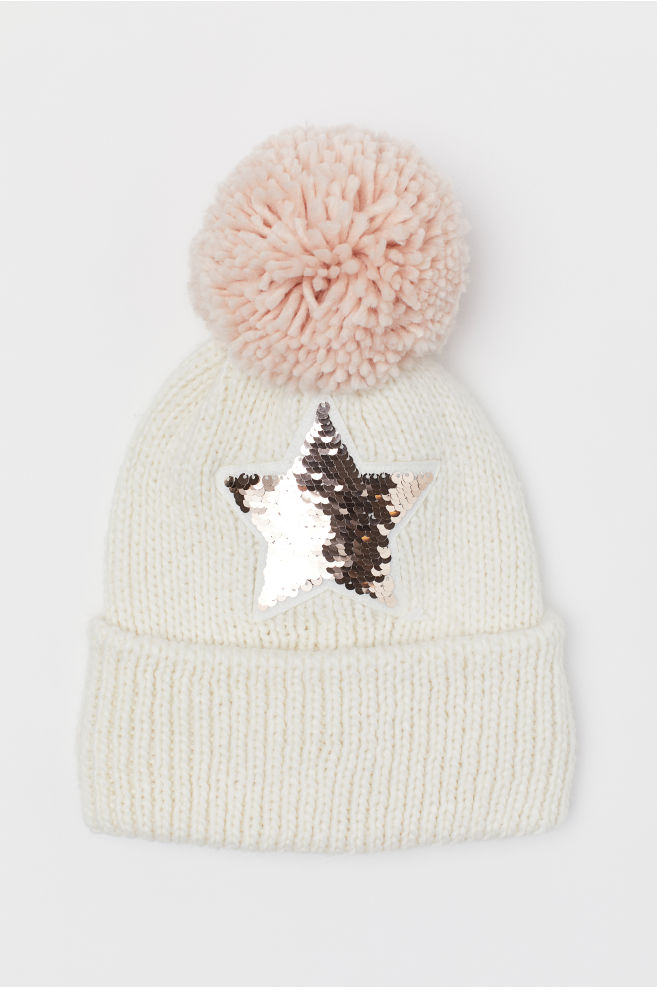 433daef954c0e Hat with reversible sequins - Natural white Star - Kids