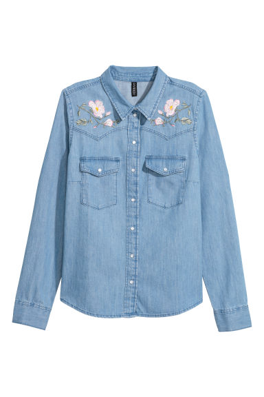 Embroidered denim shirt - Denim blue/Flowers - Ladies | H&M