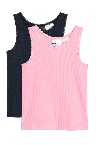 2-pack, lace-trimmed vest tops - Pink/Dark blue - Kids | H&M