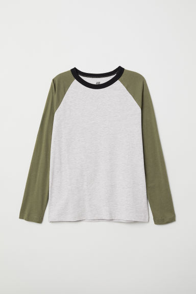 Jersey top - Grey marl/Khaki green - Kids | H&M CN