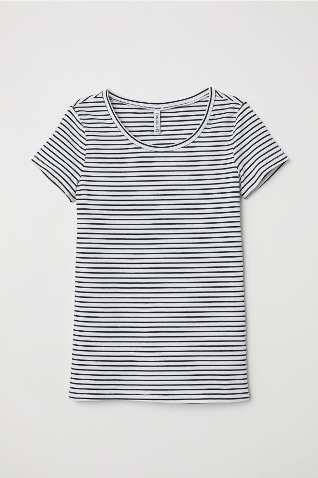 T-shirt - White black striped - Ladies  61f25c5d130