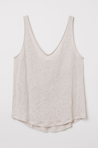 Linen jersey vest top - Light mole - Ladies | H&M CN