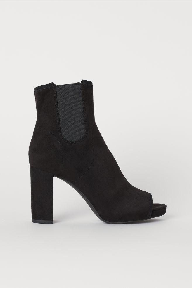1b970579d47d4 Peep-toe Ankle Boots - Black - Ladies | H&M ...