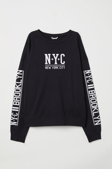 Felpa con stampa - Nero/NYC - DONNA | H&M IT