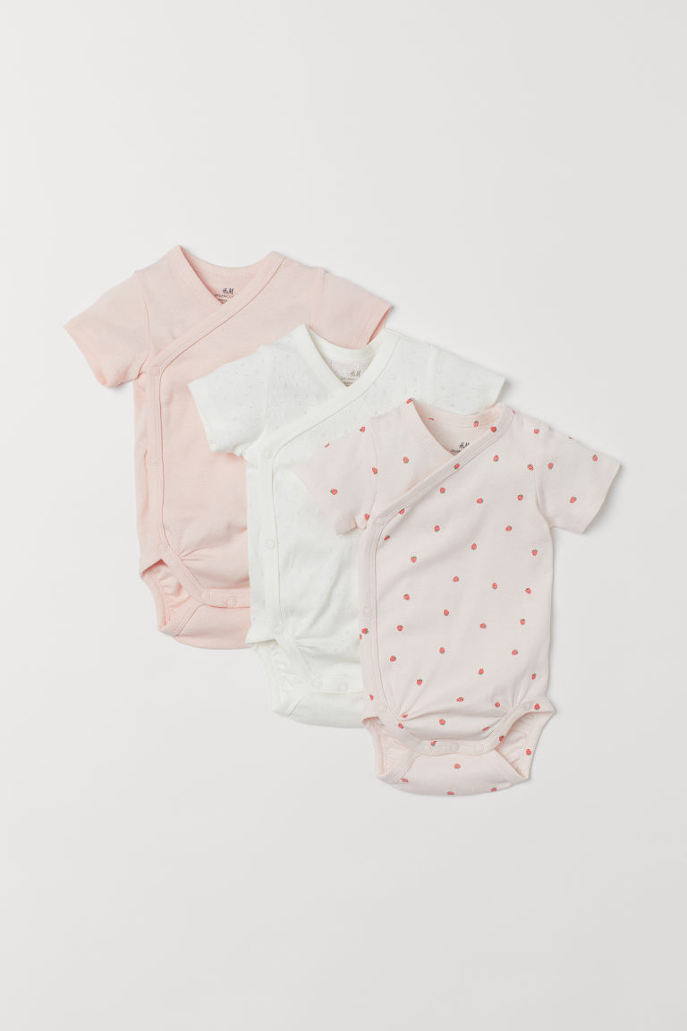 3-pack Wrapover Bodysuits - Light pink/strawberries - Kids | H&M US