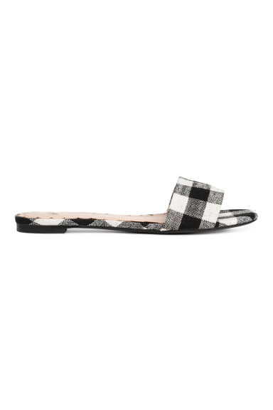 Mules - Black/White checked -  | H&M