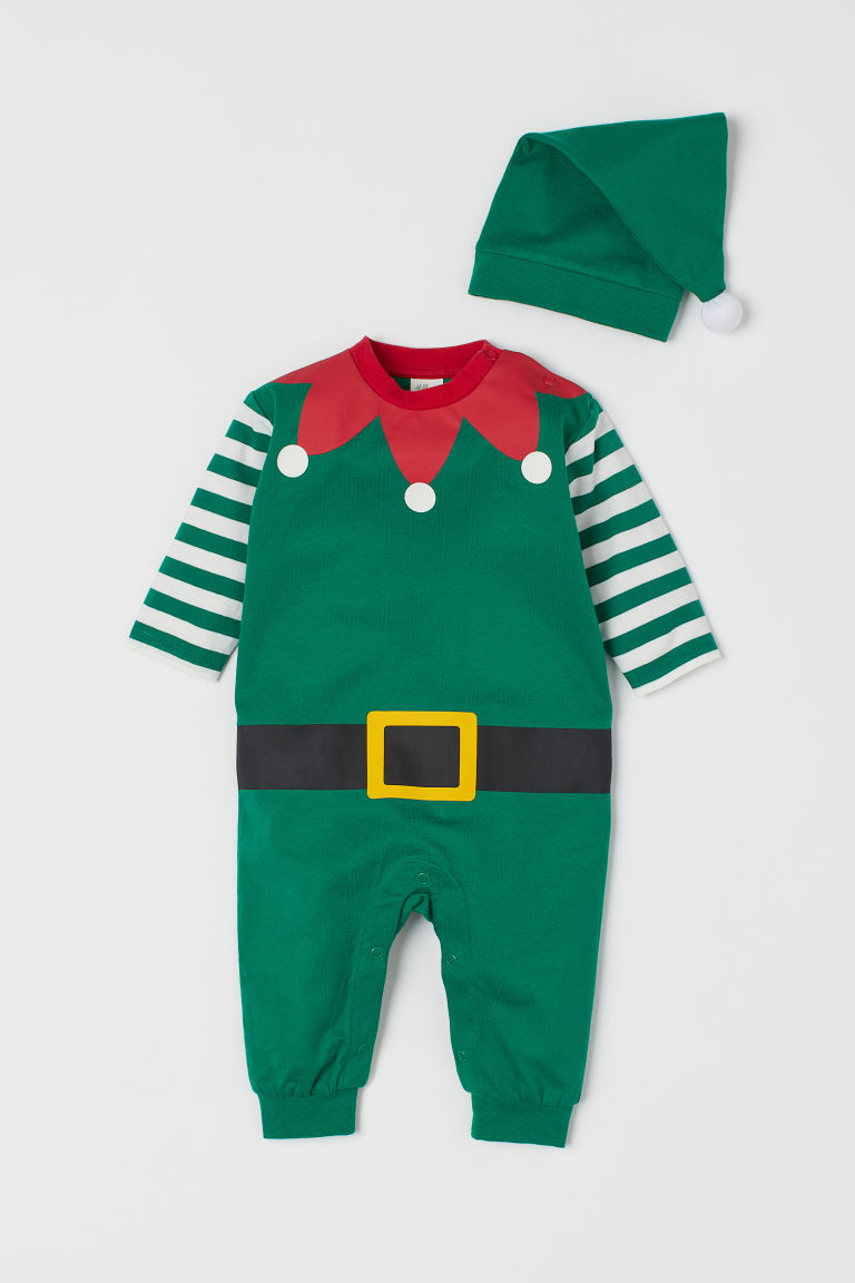 All-in-one suit and hat - Green/Christmas elf - Kids | H&M