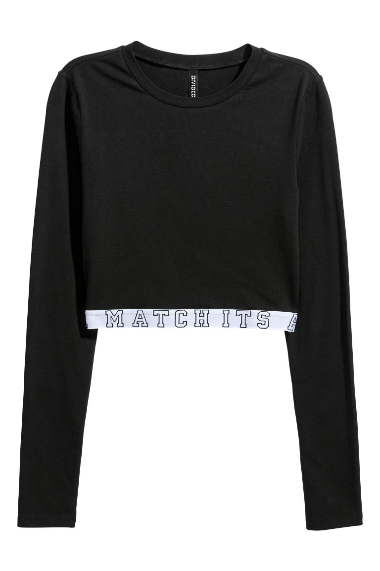 Cropped jersey top - Black - Ladies | H&M