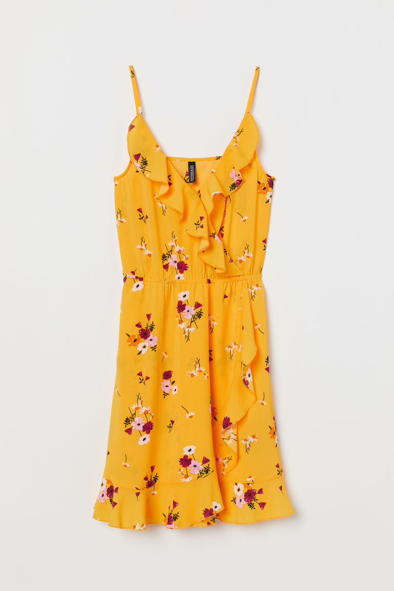 Wrap dress with flounces - Yellow/Floral -  | H&M