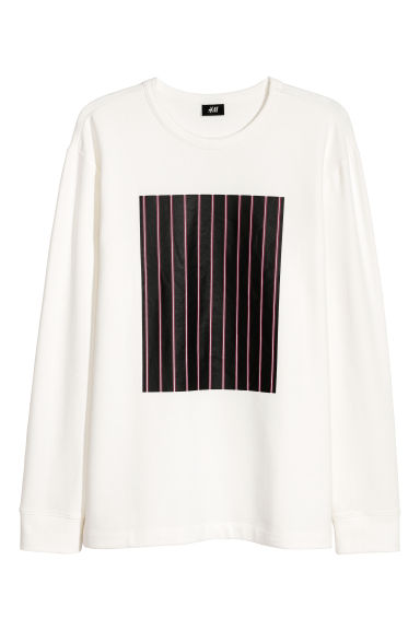 Long-sleeved top with a motif - Cream -  | H&M CN