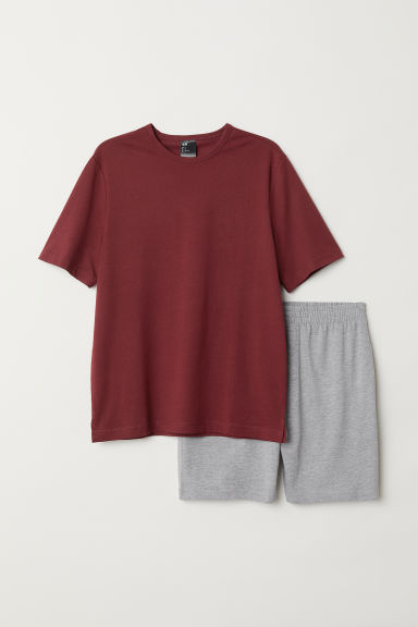 Pyjama T-shirt and shorts - Burgundy/Grey marl - Men | H&M CN