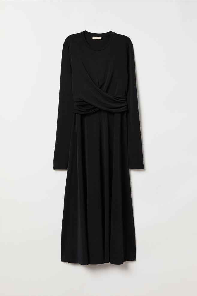 b554446c22b6a9 ... Gedrapeerde jurk - Zwart - DAMES