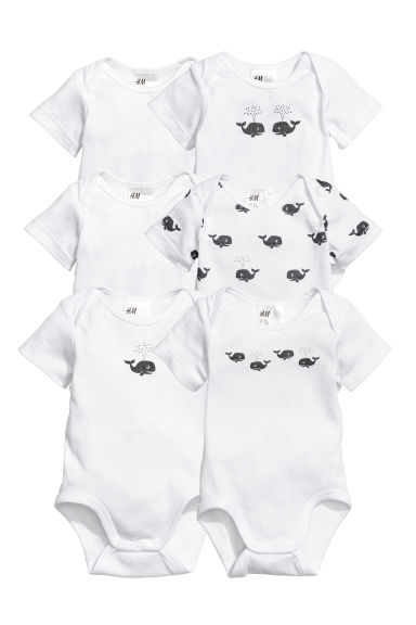6-pack bodysuits - White/Whales - Kids | H&M CN
