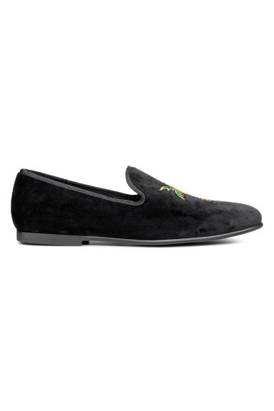 Velours loafers - Zwart/palmboom - HEREN | H&M BE