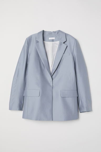 Silk-blend jacket - Light grey-blue - Ladies | H&M CN