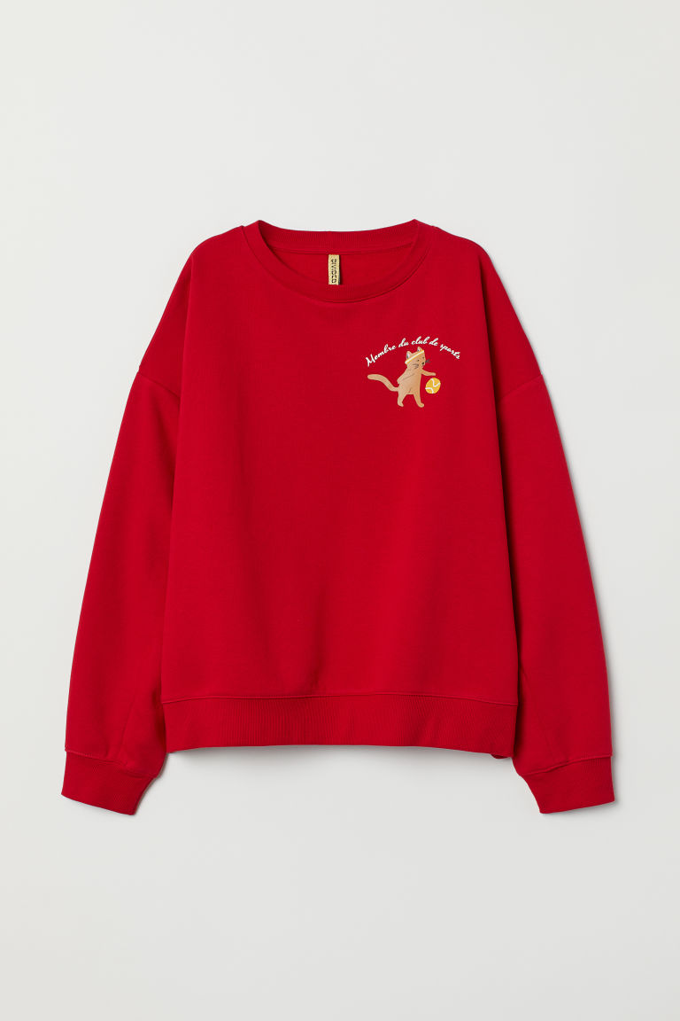 Sweatshirt with a motif - Red/Cat -  | H&M