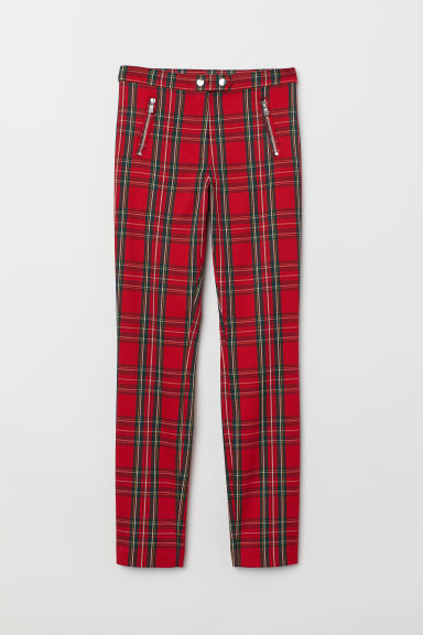 Tailored stretch trousers - Red/Checked - Ladies | H&M