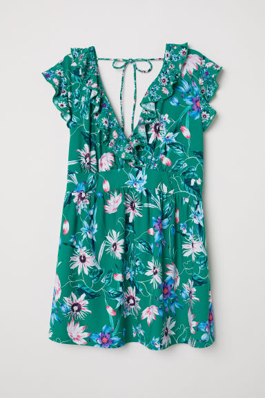MAMA Flounced top - Green/Floral - Ladies | H&M