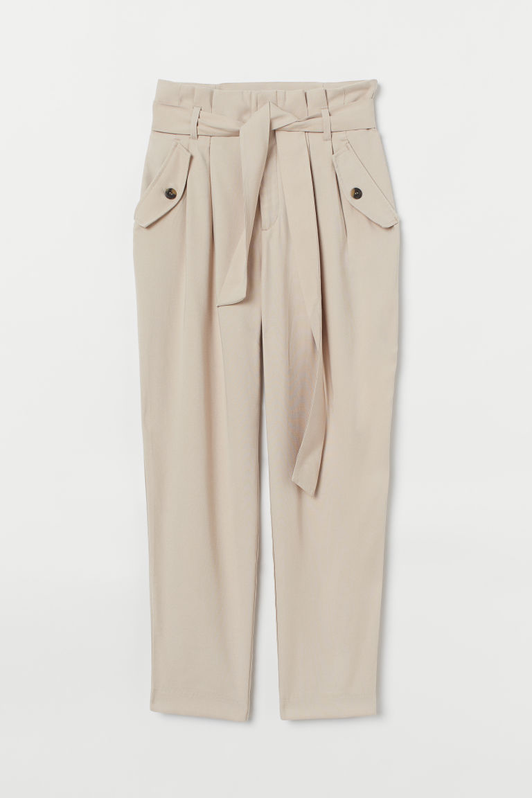 Trousers with a tie belt - Light beige - Ladies | H&M