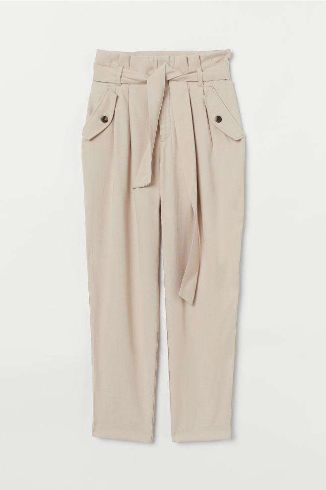 e571291d157 ... Pantalon avec ceinture à nouer - Beige clair - FEMME