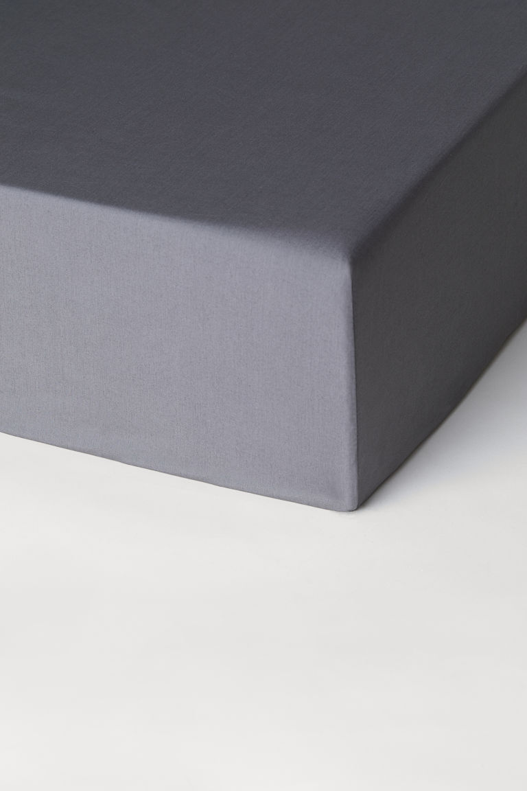 Cotton percale fitted sheet - Graphite grey - Home All | H&M CN
