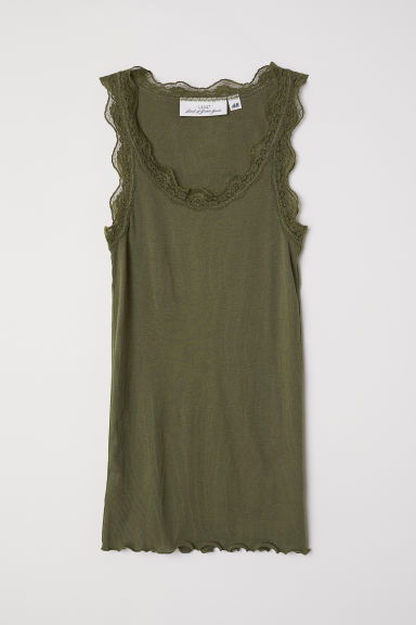 Ribbed lace-trimmed vest top - Khaki green - Ladies | H&M CN