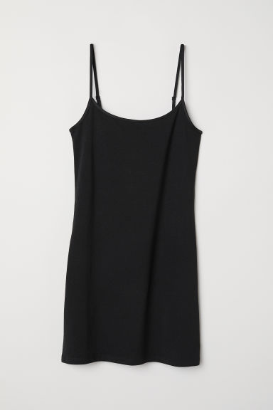 Long jersey strappy top - Black -  | H&M