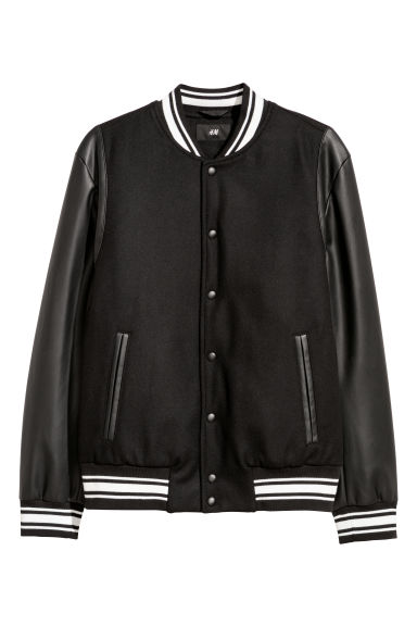 Padded baseball jacket - Black/White - Men | H&M IE