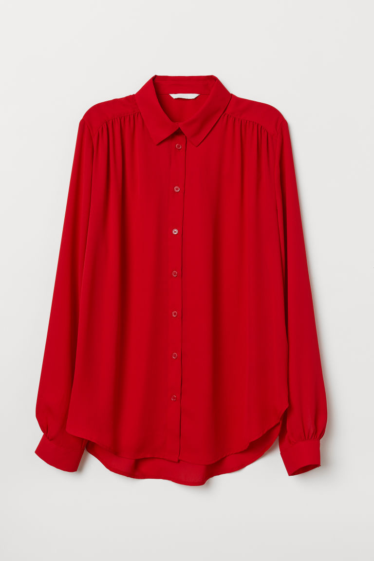 Long-sleeved blouse - Bright red - Ladies | H&M