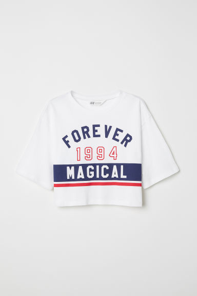 Short printed top - White/Forever Magical - Kids | H&M