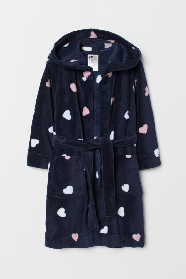 Fleece dressing gown - Dark blue/Hearts - Kids | H&M