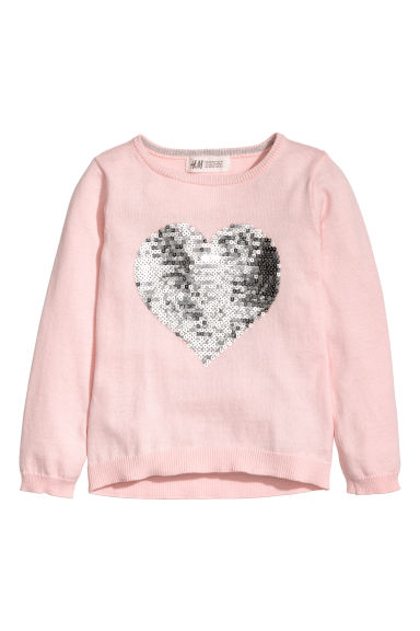 Knitted jumper with a motif - Light pink/Heart -  | H&M